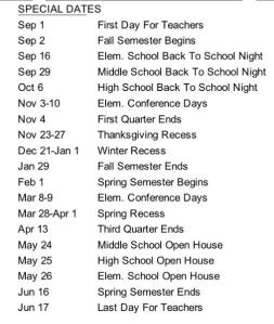 2015-16 District Calendar Special Dates
