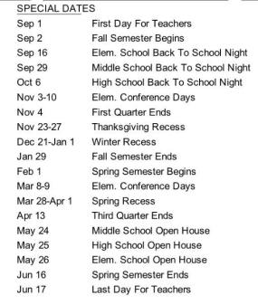 2015-16 District Calendar Special Dates